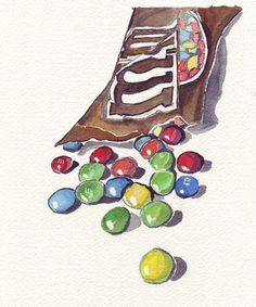 Watercolor Painting - M and Ms Candy Watercolor Art Print, Candy Drawing, Food Drawing, Watercolor Food, Watercolor Paintings, Watercolours, Artist Painting, Painting & Drawing, Food Illustrations, Illustration Art