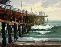 Chance of Rain by Greg LaRock Oil ~ 11 x san clemente pier San Clemente Pier, American Impressionism, Painting Competition, Summer Painting, Exterior Paint, Figure Painting, American Artists, Landscape Paintings, Acrylic Paintings