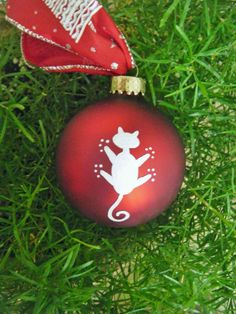 Handpainted Cat Ornament Personalized by BrushStrokeOrnaments