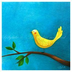 Print Yellow bird by Sybile on Etsy
