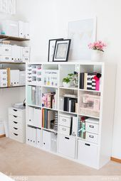 """Craft Room Makeover and How to Get the perfect MINC Foil by for The Heidi Swapp Media Team has been in the cleaning mood! Have you been feeling the same? It almost feels like """"spring fever"""" but in January! We have been de-cluttering our homes and or… Home Office Organization, Home Office Decor, Home Decor, Stationary Organization, Organizing Ideas, Craft Room Design, Design Room, Craft Room Storage, Space Crafts"""
