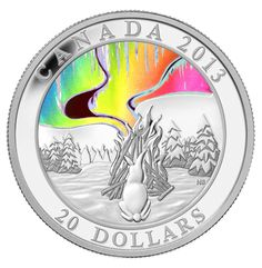 Royal Canadian Mint 2013 $20 Fine Silver Hologram Coin - A Story of the Northern Lights The Great Hare $109.95
