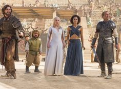 Daario Naharis (Michiel Huisman), Tyrion Lannister (Peter Dinklage), Daenerys Targaryen (Emilia Clarke), Missandei (Nathalie Emmanuel), Jorah Mormont (Iain Glen) from Holy Mother of Dragons! All the Epic Game of Thrones Season 5 Moments