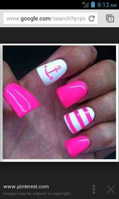 Cute pink anchor nails! Summer vacation nails!!
