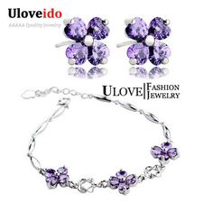 Find More Jewelry Sets Information about Wedding Bridal Jewelry Sets 925 Sterling Silver Purple Flower Crystal Jewelry Set Women Earrings Bracelet Jewellery Ulove JS1698,High Quality accessories watch,China accessories opel Suppliers, Cheap accessories bangles from Uloveido Official Store on Aliexpress.com