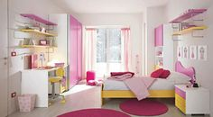 Feminine Pink Teenage Girls Room Designs : Enchanting White Painted Walls Teenage Girls Room with Pink and Yellow Painted Furniture