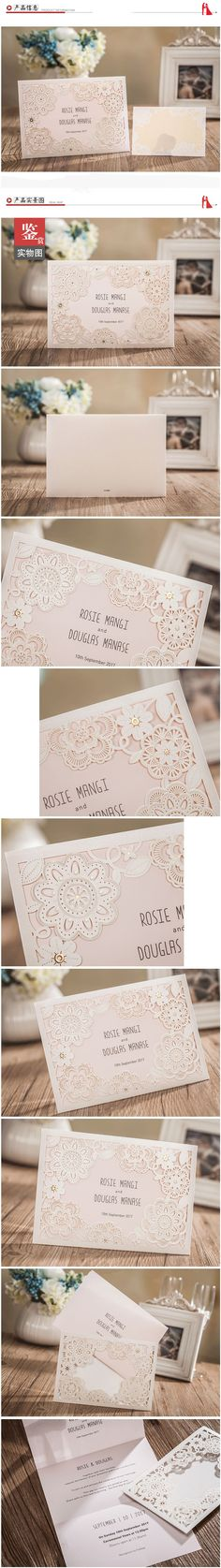 20-Laser Cut Laces Wedding Invitation Cards With Custom Personalized Printing
