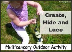 This multisensory activity includes scissor skills, visual perceptual skills, fine motor skills, eye hand coordination and gross motor skills.  Did I mention some physical activity as well?  #pediOT #pediPT  Visit www.YourTherapySource.com for more activity ideas.