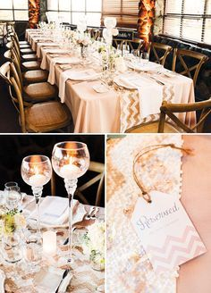 Beautiful rustic glam wedding decoration idea using sequin table runners