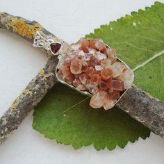 Aragonit-Druse-amp-Granat-Anhaenger-925-Sterling-Silber