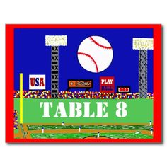 Cool Baseball Sport Bar Mitzvah Table Number Card Post Cards