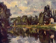 Paul Cézanne.  Marne-Ufer. 1888, Öl auf Leinwand, 71 × 90 cm. Moskau, Puschkin-Museum der bildenden Künste. Landschaftsmalerei. Frankreich. Postimpressionismus.  KO 01131