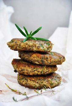 Vegetarian protein-rich mushroom hemp patties with herbs on gourmandelle.com