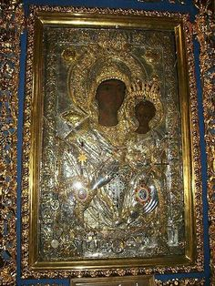"""The Icon """"Axion Estin"""", which is treasured on Mount Athos is of the Hodeghetria """"Directress"""" stasis and prototype. Christian World, Early Christian, Christian Art, Religious Paintings, Religious Art, Monastery Icons, Divine Mother, Byzantine Icons, Orthodox Icons"""