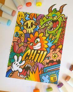 Cute Doodle Art, Doodle Art Designs, Doodle Art Drawing, Cute Art, Graffiti Doodles, Graffiti Wall Art, Graffiti Drawing, Sharpie Drawings, Trippy Drawings