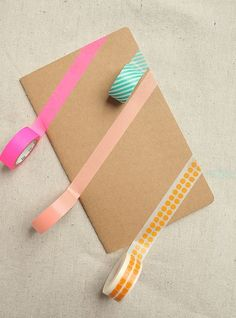 Really good, easy DIY for using washi tape to jazz up plain journals + composition books. | Tutorial at Design Love Fest: So easy and fun for kids.