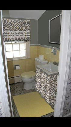 Vintage tile bathroom yellow and grey