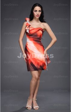 mini dress red,Bow Sheath One Shoulder Short Dress,£60.00