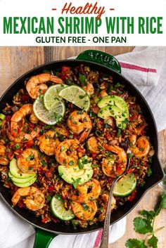 Healthy Mexican Shrimp and Rice. Easy one skillet dinner that's full of spicy Mexican flavor! Juicy shrimp, colorful veggies, whole grain brown rice, and black beans make this a true all-in-one meal. via dinner Mexican Shrimp Mexican Shrimp Recipes, Shrimp And Rice Recipes, Healthy Mexican Recipes, Brown Rice Recipes, Mexican Dinner Recipes, Shrimp Dishes, Seafood Recipes, Healthy Dinner Recipes, Cooking Recipes