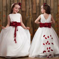 2017 Custom Made A Line Flower Girls' Dresses With Big Bow Floor Length Hand Made Flowers Appliques Sash First Communion Gowns For Kids Toddler Girls Toddler Girls Dresses From Rieshaneea06, $77.89  Dhgate.Com