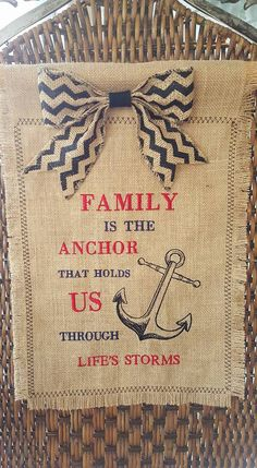 Garden Flag with Bow, Embroidered, Burlap - Family Is The Anchor