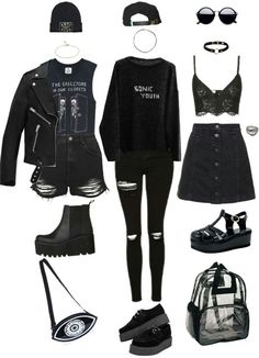 Outfits, rock outfits, emo outfits, grunge outfits, outfits for teens Grunge Outfits, Cute Emo Outfits, Bad Girl Outfits, Gothic Outfits, Teen Fashion Outfits, Teenager Outfits, Edgy Outfits, Mode Outfits, Outfits For Teens