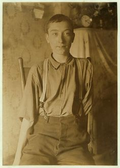 134 Broadway, Cincinnati, Ohio. Harry McShane, 16 yrs. of age on June 29, 1908. Had his left arm pulled off near shoulder, and right leg broken through kneecap, by being caught on belt of a machine in Spring factory in May 1908. Had been working in factory more than 2 yrs. Was on his feet for first time after the accident, the day this photo was taken. No attention was paid by employers to the boy either at hospital or home according to statement of boy's father. No compensation.