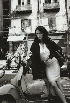lovely vintage girl on Vespa