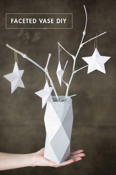 credit: Kate Nicholson for Oh Happy Day [http://ohhappyday.com/2012/11/faceted-vase-diy-free-template/]