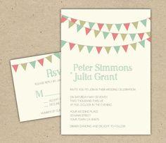Wedding Invitation. DIY printable template. modern, bunting, flags, backyard (1035)