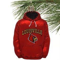 Louisville Cardinals Glass Hoodie Ornament
