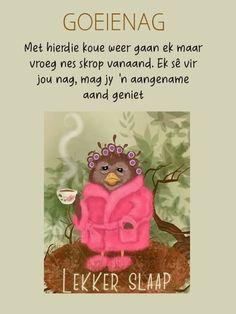 Goeie Nag, Sleep Tight, Afrikaans, Good Night, Teddy Bear, Animals, Lilac, Cottage, Winter