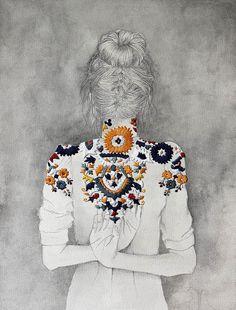 Illustration et broderie par Izziyana Suhaimi