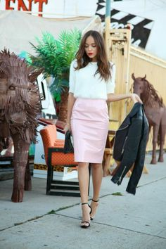 white mohair sweater + pale pink leather midi skirt + black strappy heels