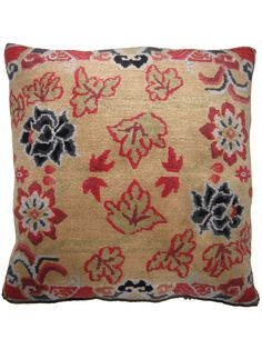 Drifting Flowers taupe  | Unique rug pillow used for meditation or decoration. Designed in SoHo, Handwoven in the Himalayas #handmade | Tibetan #pillow | @RaloTibetanRugs