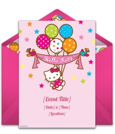 A collection of FREE Hello Kitty birthday party invitations. We love this design for a Hello Kitty themed party. A digital template that's easy to personalize and send online for free.