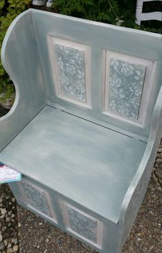 Shabby chic settle bench in Annie Sloan's old white and duck egg with stenciled detailing, by Imperfectly Perfect xx