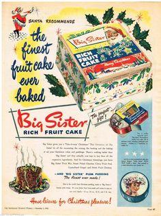 Big Sister Ad Xmas Cakes Tins Art Australian Vintage Advertising 1956 Original | eBay