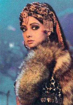 "Sridevi as the feisty Afghan girl, Benazir, in Khuda Gawah ""O main aisi cheez nahi, jo sharma se simat jaungi Main kaat ke rakh dungi tujhko Ya aap hi kat jaungi I'm not that kind of person who will. Bollywood Images, Vintage Bollywood, Bollywood Stars, Afghan Music, Afghan Girl, Indian Goddess, Cartoons Love, Beautiful Bollywood Actress, Most Beautiful Women"