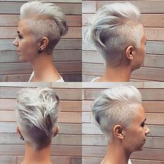 coupe mohawk femme blond platine fascinant