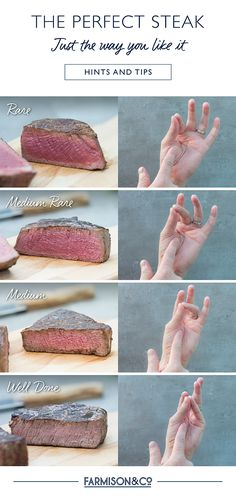 Easily check your steak by comparing the firmness of the meat with the feeling of the base of your hand as you press each finger against your thumb as shown.⭐️When choosing Farmison&Co Steak, use code PINSTEAK for £10 OFF* your purchase with our compliments, when spending over £40.⭐️#eatbettermeat