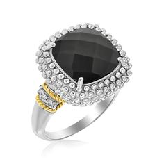 Yellow Gold & Sterling Silver Black Onyx and Diamond Popcorn Cushion Ring: Size 7 Thin Gold Rings, Gold Diamond Rings, Silver Diamonds, Diamond Jewelry, Black Diamond, Gemstone Rings, Sea Glass Jewelry, Fine Jewelry, Jewelry Box
