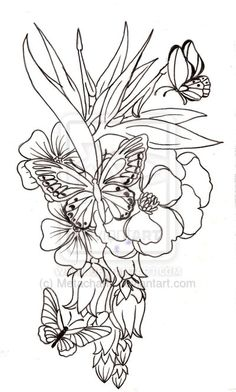 Butterfly and Flower Tattoo by Metacharis deviantart.com/