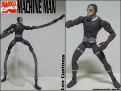 this is a marvel legends Machine Man V.1 Custom Action Figure he was made by figure realmer leo customs he used a vision body and doc ock tenticles for leg and arm extensions happy pinning