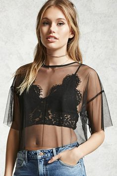 Forever 21 Contemporary - A twofer top featuring a sheer mesh crop top with a round neckline, dropped shoulders, short sleeves a back button closure with a keyhole cutout, and a raw-cut trim. A semi-sheer lace bralette with adjustable cami straps, V-neckline, smocked back, and eyelash lace scalloped trim.