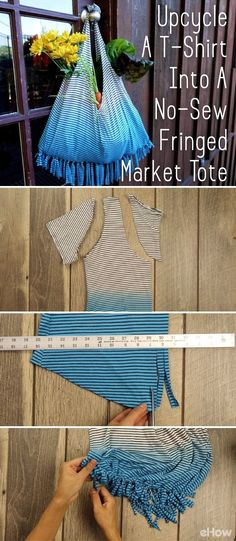 Turn an old t-shirt into an adorable and functional market tote! No sewing required with this tutorial! DIY here: http://www.ehow.com/how_12343809_upcycle-tshirt-nosew-fringed-market-tote-tutorial.html?utm_source=pinterest.com&utm_medium=referral&utm_content=freestyle&utm_campaign=fanpage