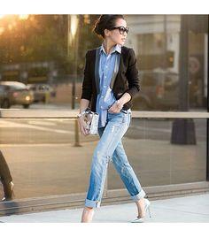 Jimmy Choo heels, Love Zooey blazer, Proenza Schouler bag, J Brand jeans, Maison Scotch shirt. #streetstyle