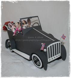 Car - Bil Old car, konfirmasjon, 3D, papirbretting, paperfolding, paper, papir, scrapbooking, scrapbook,