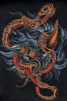 Scorned by Clark North Japanese Devil Hannya Snake Tattoo Art Print