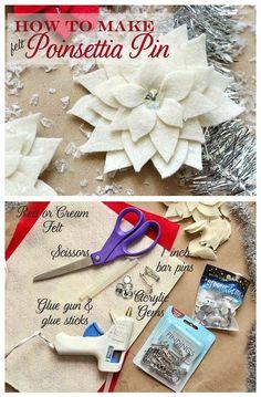 DIY:: How to make a Felt a Poinsettia Pin